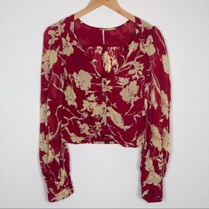 Free People V Neck Long Sleeve Blouse Size Small